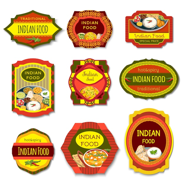 Indian food colorful emblems Free Vector