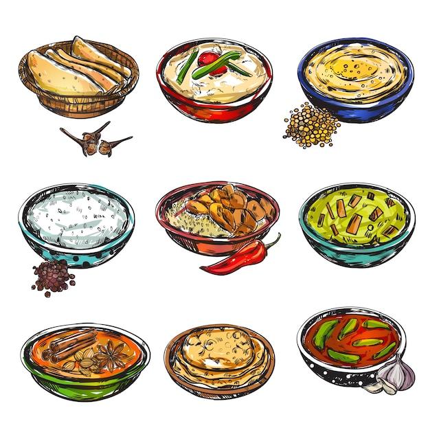 Set di cibo indiano Vettore gratuito