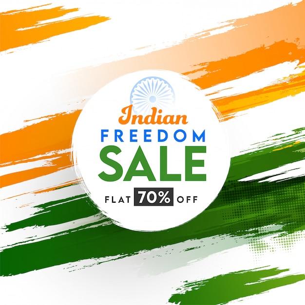 Плакат о продаже свободы в индии с предложением скидки 70% на фоне эффекта полутонового мазка кистью триколор. Premium векторы