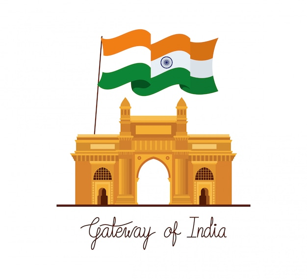 Indian gate temple with flag Free Vector
