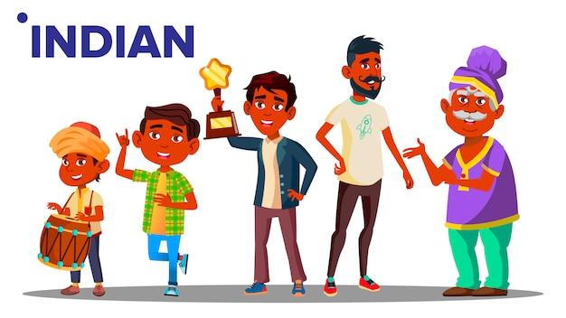 Indian generation male people Premium Vector