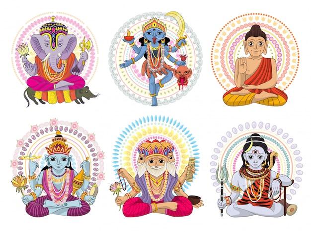 Indian god  hinduism godhead of goddess and godlike idol ganesha in india illustration set Premium Vector