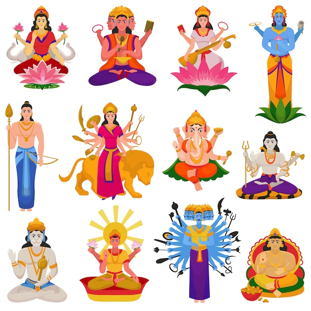 Indian god vector hindu godhead of goddess character and hinduism godlike idol ganesha in india illustration set of asian godly religion Premium Vector