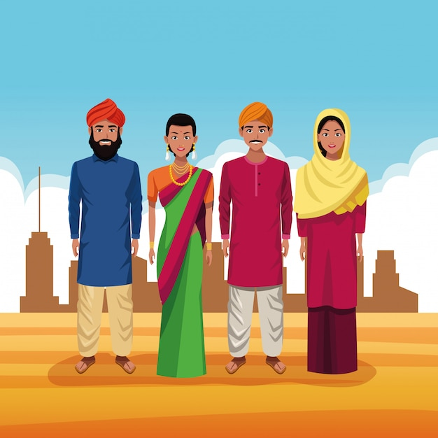 Indian group of india cartoon Free Vector