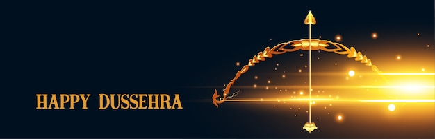 Indian happy dussehra festival banner with bow and arrow vector Free Vector