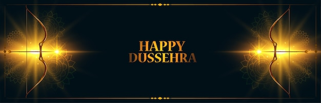 Indian happy dussehra festival banner with glowing bow and arrow vector Free Vector