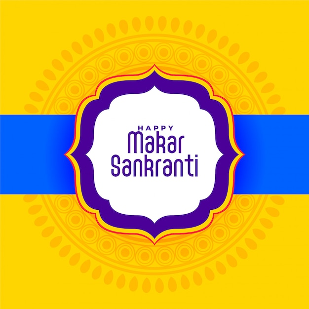 Indian happy makar sankranti festival yellow Free Vector