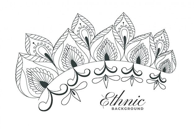 Fondo indiano della decorazione floreale di stile del hennè Vettore gratuito