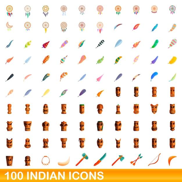 インドのアイコンを設定します。白い背景に設定されているインドのアイコンの漫画イラスト Premiumベクター