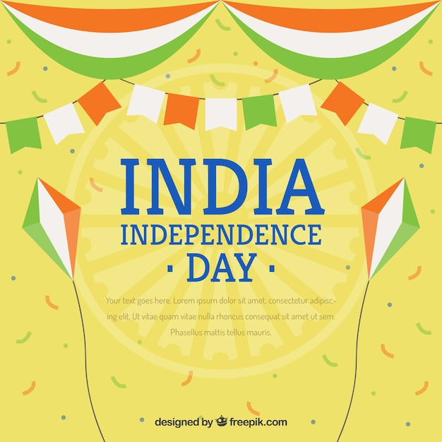 Indian independence background with decoration and confetti