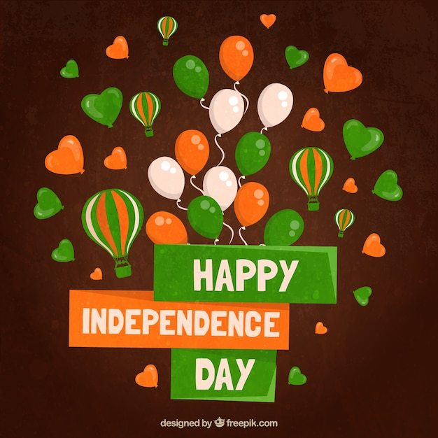 Indian independence congratulation with balloons