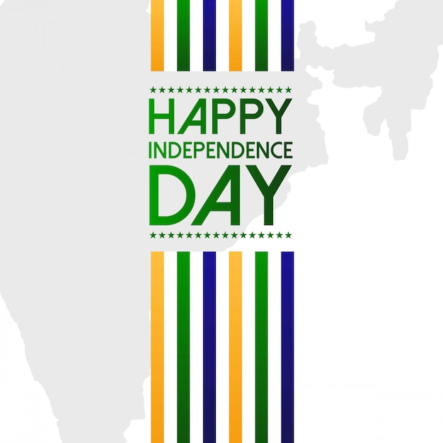 Indian independence day design with typography vector Free Vector