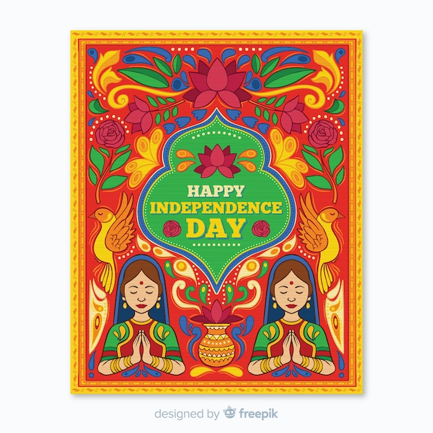 Indian independence day poster template Free Vector