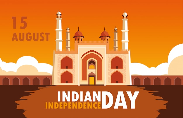 Indian independence day poster with amritsar golden temple Premium Vector
