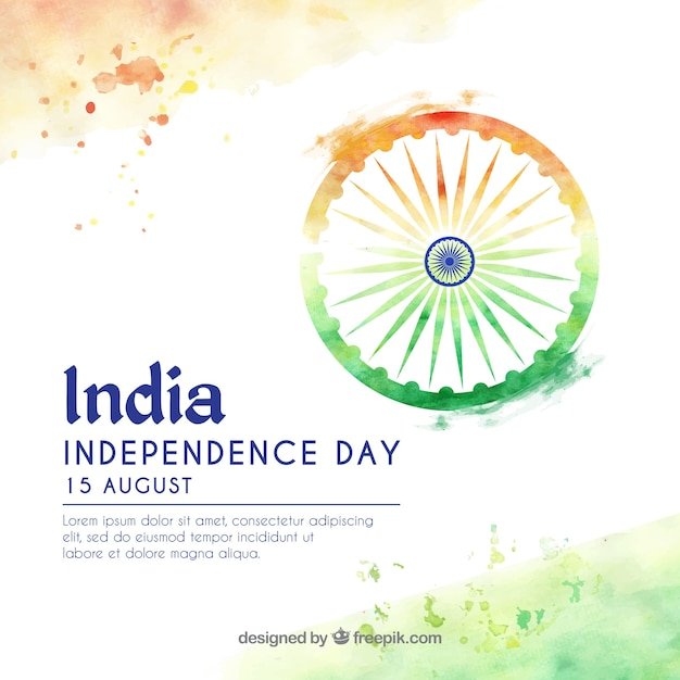 Indian independence day watercolor background Premium Vector