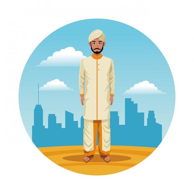 Indian india man round icon cartoon Free Vector