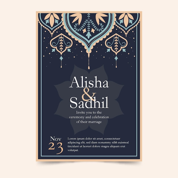 Indian invitation template with elegant elements Free Vector