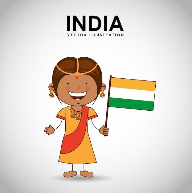 Indian kid Premium Vector