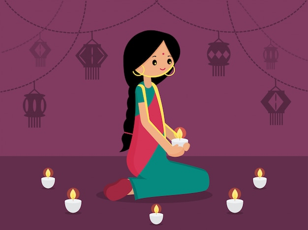 Indian lady with decorated hanging light for happy diwali. modern flat vector illustration. light festival of india background. Premium Vector