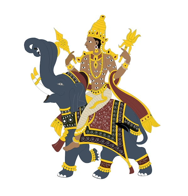 Indian lord indra Premium Vector