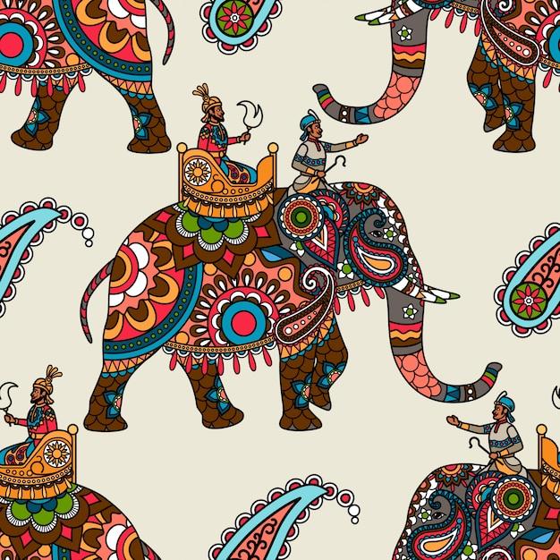 Indian maharadjah on elephant seamless background Premium Vector