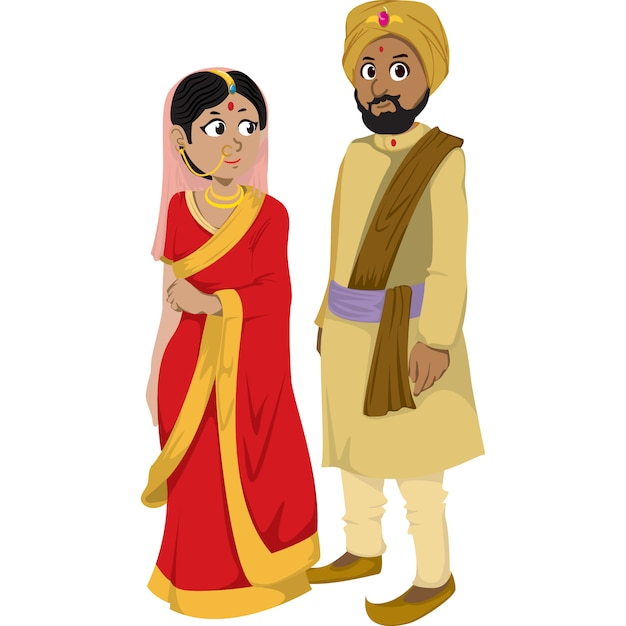 Indian man and woman in the traditional clothing isolated on white background. Premium Vector
