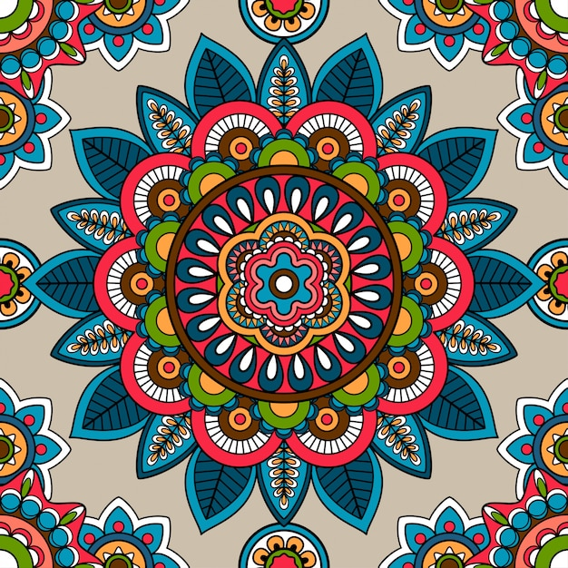 Indian mandala vector seamless pattern Premium Vector
