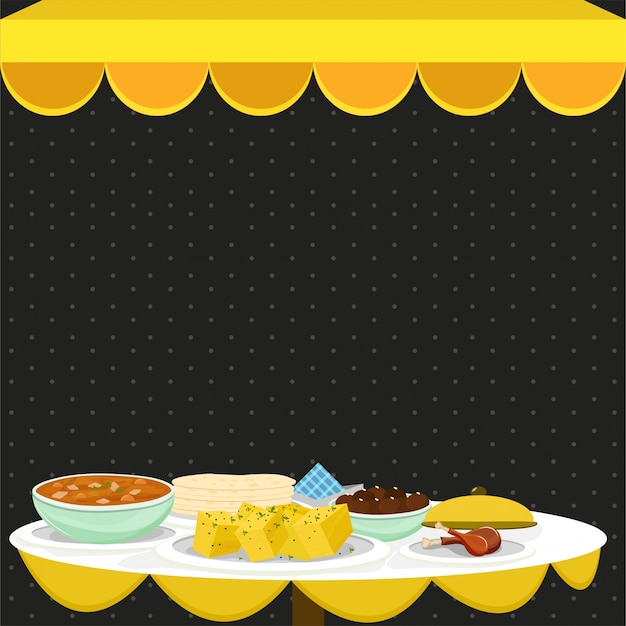 Indian meal, food and drink concept. Premium Vector