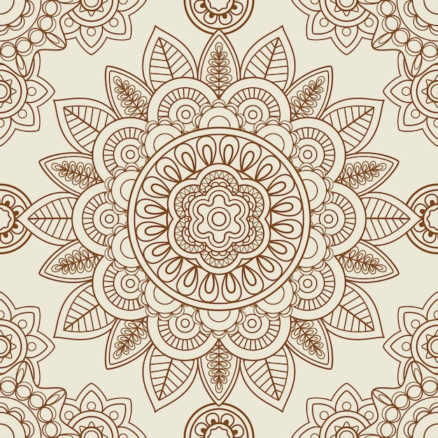 Indian mehendi boho seamless background Premium Vector