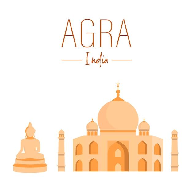 Indian national landmarks vector poster template. Premium Vector