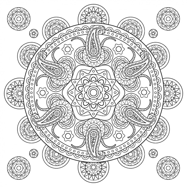 Indian paisley doodle hand drawn mandala Premium Vector