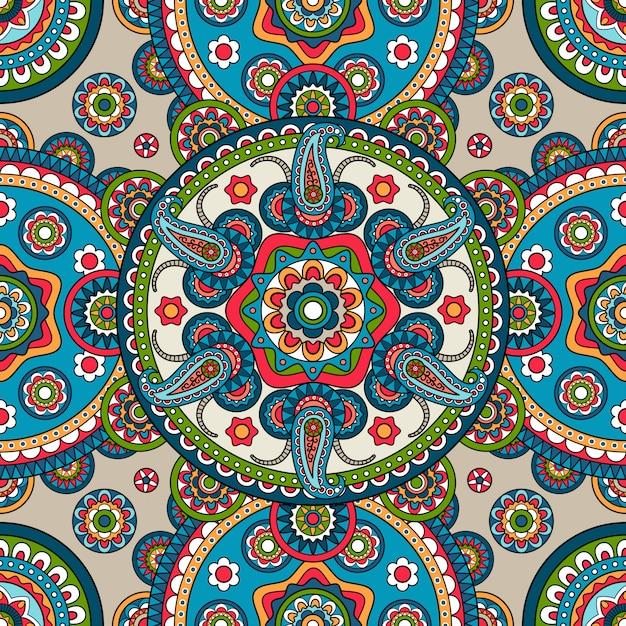 Indian paisley mandala seamless pattern | Premium Vector