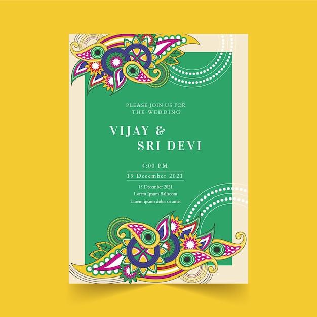 Индийское приглашение на свадьбу пейсли Premium векторы