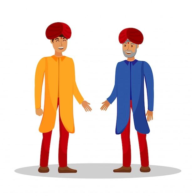 Indian people conversation flat color illustration Premium Vector
