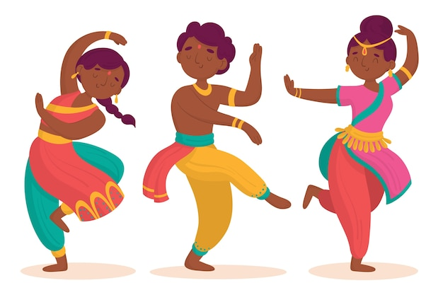 Indian people dancing bollywood Free Vector