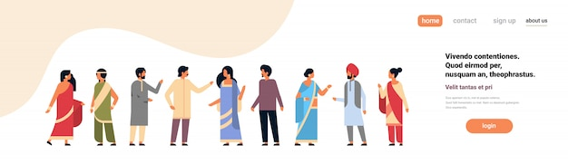 Indian people group wearing national traditional clothes hindu banner Premium Vector