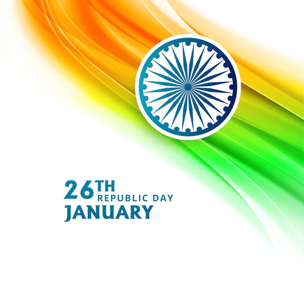 Indian republic day 26 january with flag wave Free Vector