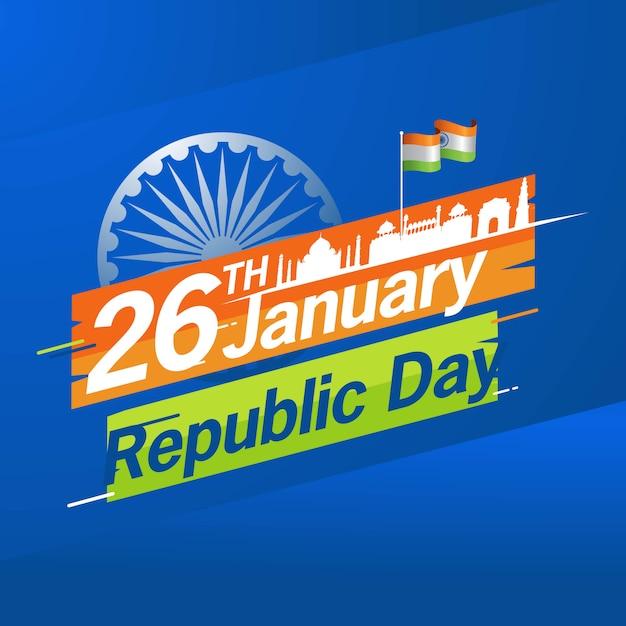 Indian republic day 26 january Premium Vector