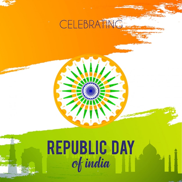 Indian republic day 26th january background Premium Vector