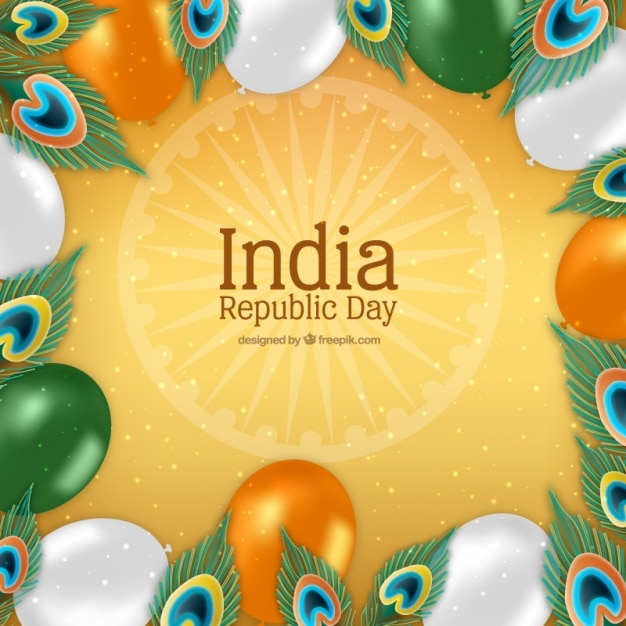 Indian republic day background with balloons in realistic style