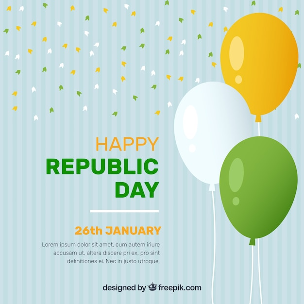 Indian republic day background with balloons Free Vector