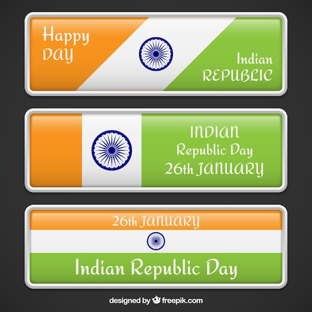 Indian republic day banners pack