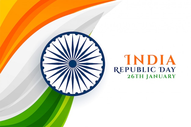 Indian republic day creative in tricolor Free Vector