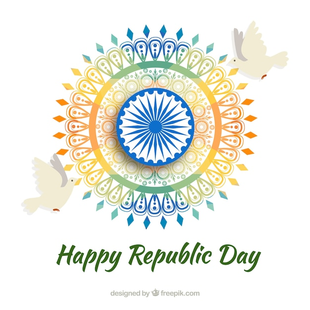 Indian republic day design with colorful wheel Free Vector