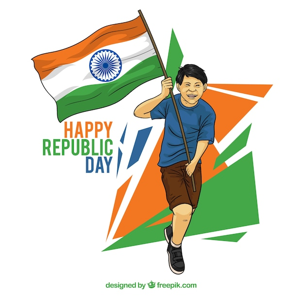 Indian republic day design with running man Free Vector