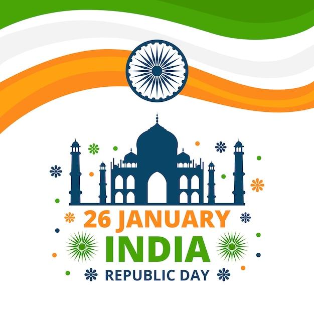 フラットなデザインのインド共和国記念日 無料ベクター