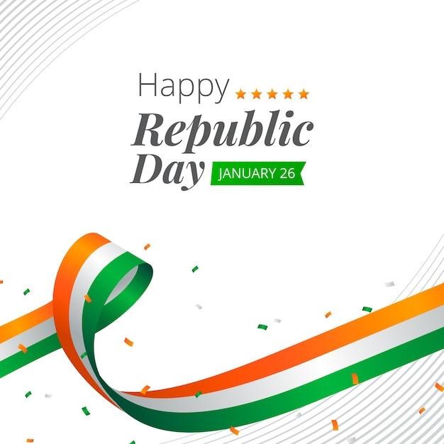 평면 디자인의 인도 공화국의 날 무료 벡터