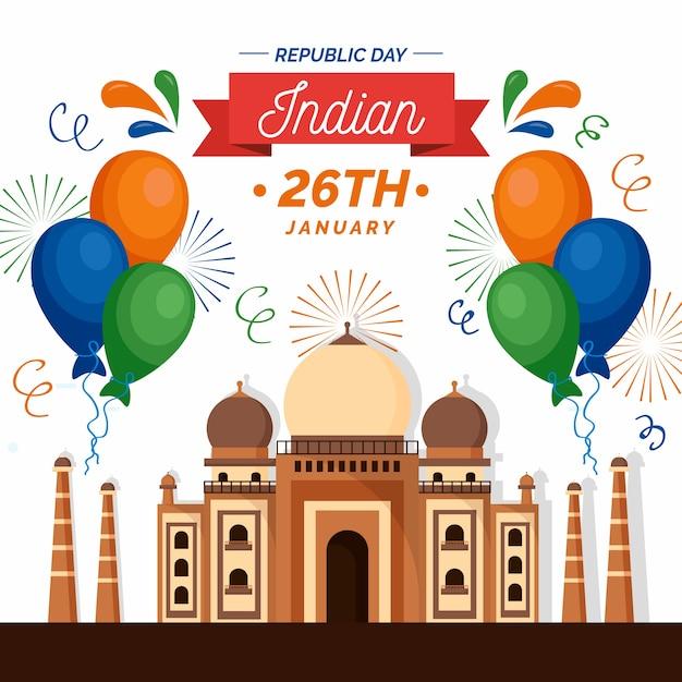 インド共和国記念日のテーマのコンセプト 無料ベクター