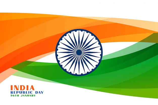 Indian republic day wavy flag background Free Vector