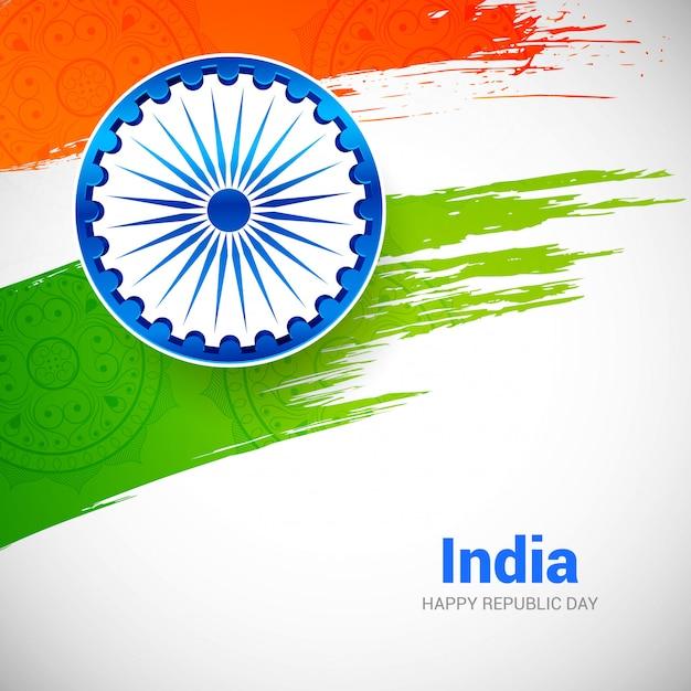Indian republic day with brush flag Premium Vector